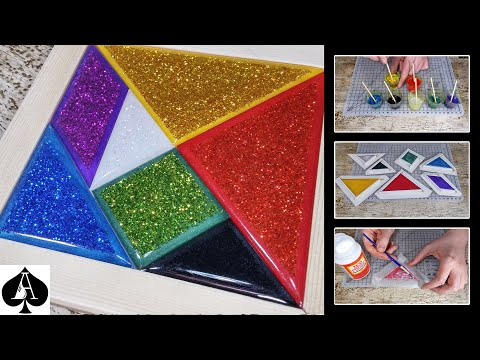 How to Make a Tangram Puzzle with Epoxy Resin and Glitter | Tutorial | DIY