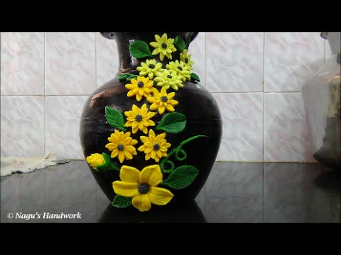 Pot painting flower making using clay by nagu 39 s handwork for Pot painting materials required