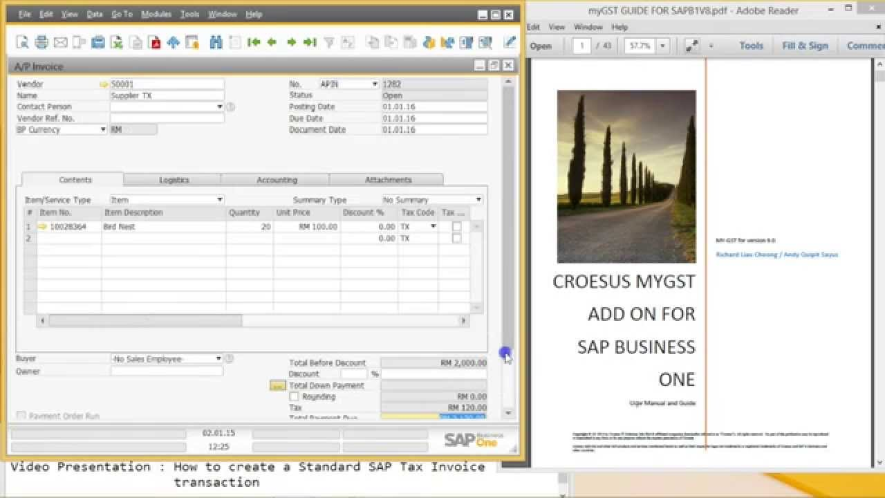 how to create - sap business one tax invoice