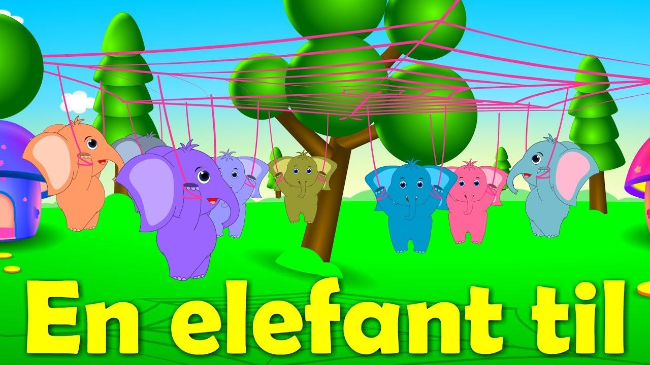 En elefant kom marcherende | 18 minutter mix med tekst | Danske Børnesange