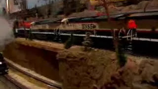 LIONEL ELECTRIC TRAINS ON A LARGE LAYOUT ... 53 SHEETS OF PLYWOOD WERE USED !