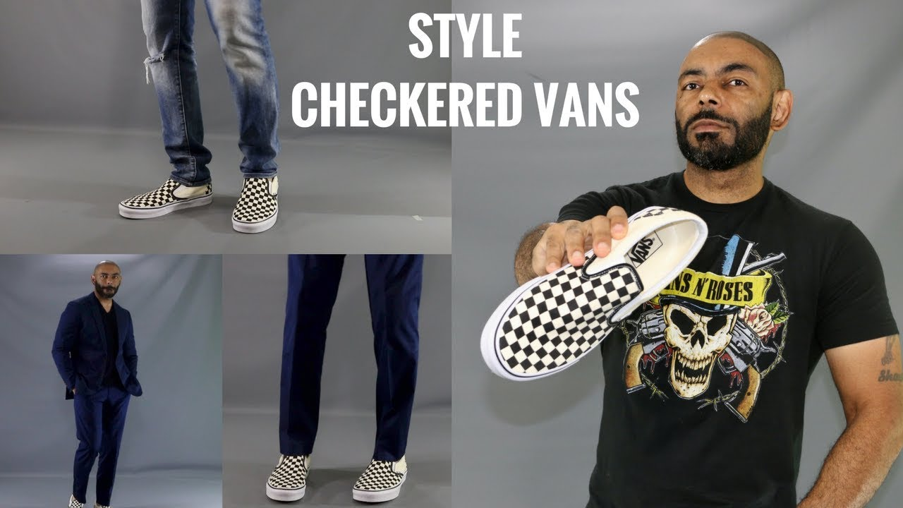 vans slip on checkerboard style