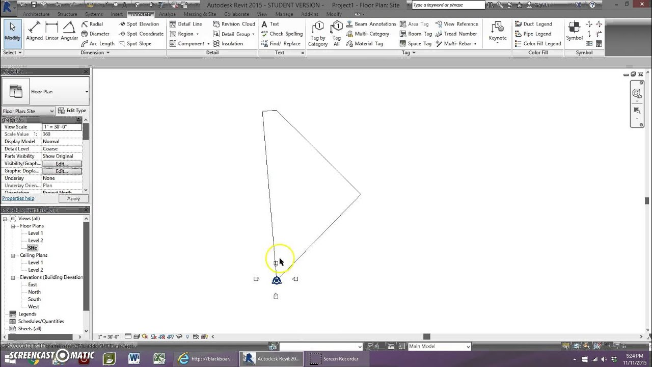Drawing Property Lines In Revit : Starting a site plan with property lines in revit youtube