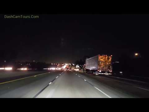 Night Driving On California Freeway. No Music.