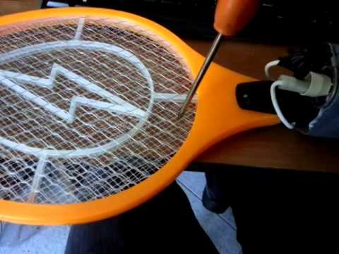 Overpowered fly swatter with microwave capacitor
