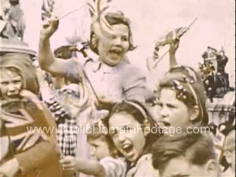 VE Day London 1945 End of WWII in Europe Raw Archival Footage - Part FOUR PublicDomainFootage.com