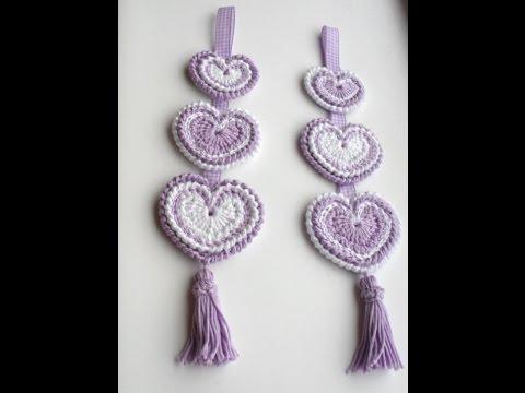 Hanging Hippy Hearts Decoration Crochet Tutorial Youtube