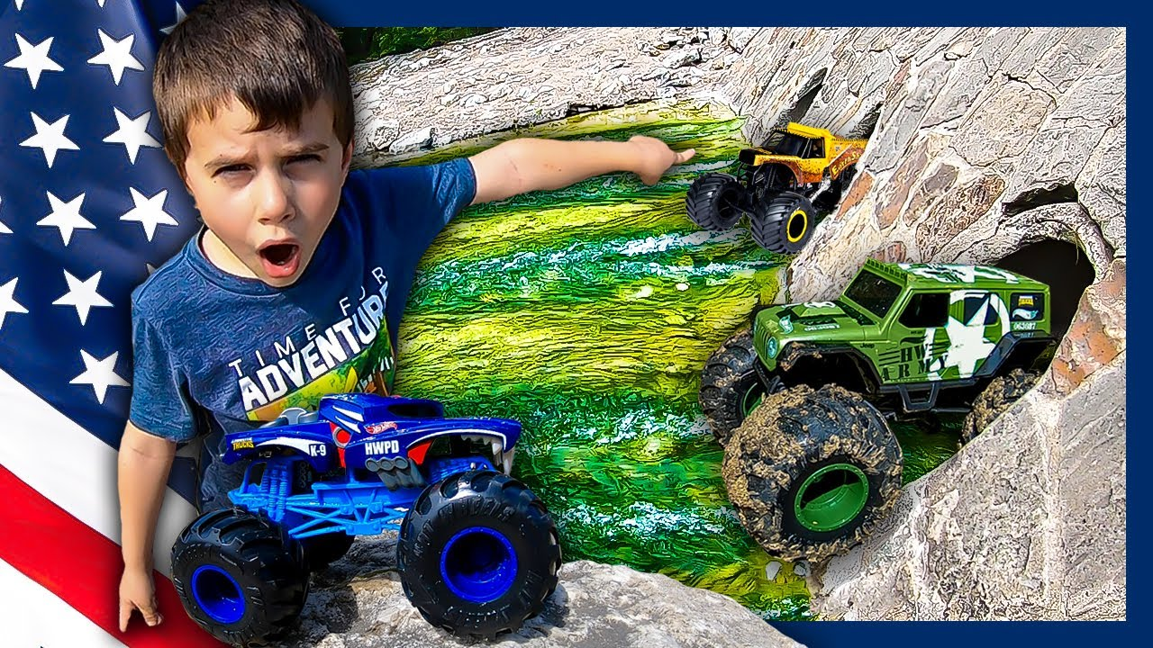 Monster Trucks For Kids River Rescue Mission Youtube