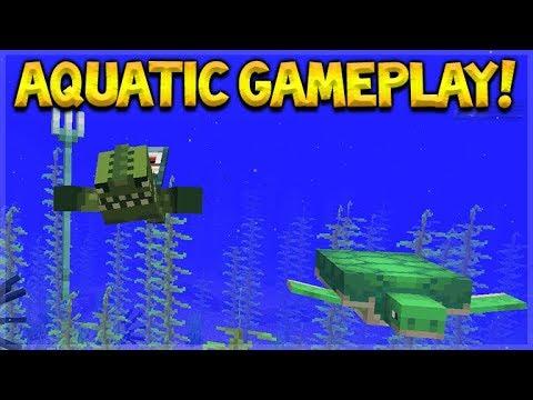 NEW AQUATIC UPDATE GAMEPLAY! - Minecraft 1.13 Ocean Update Snapshot 18W07A (gameplay)