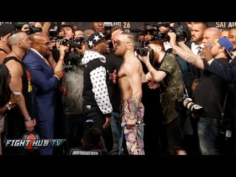 BARCLAYS CENTER FACE OFF! FLOYD MAYWEATHER VS CONOR MCGREGOR - FULL VIDEO