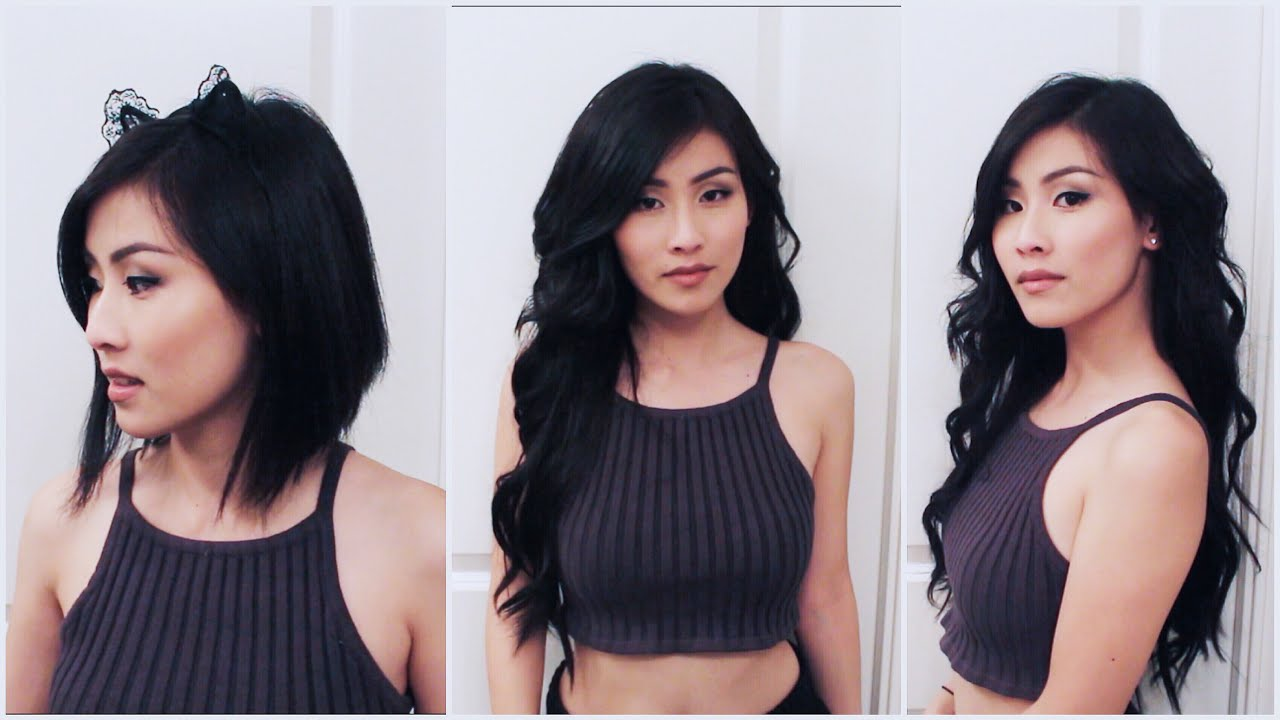 CLIP IN EXTENSIONS ON SHORT BLUNT HAIR// Irresistible Me Try-On ...