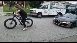 Электровелосипед тащит AUDI R8! 1кВт против 580 л.с. и 1500 кг!!