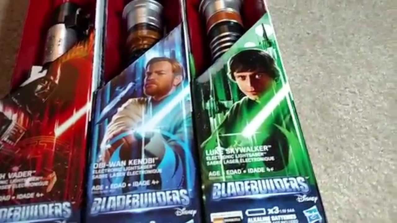 Star Wars Bladebuilders Luke Skywalker Darth Vader Obi Wan Kenobi Electronic Lightsaber Unboxing Youtube