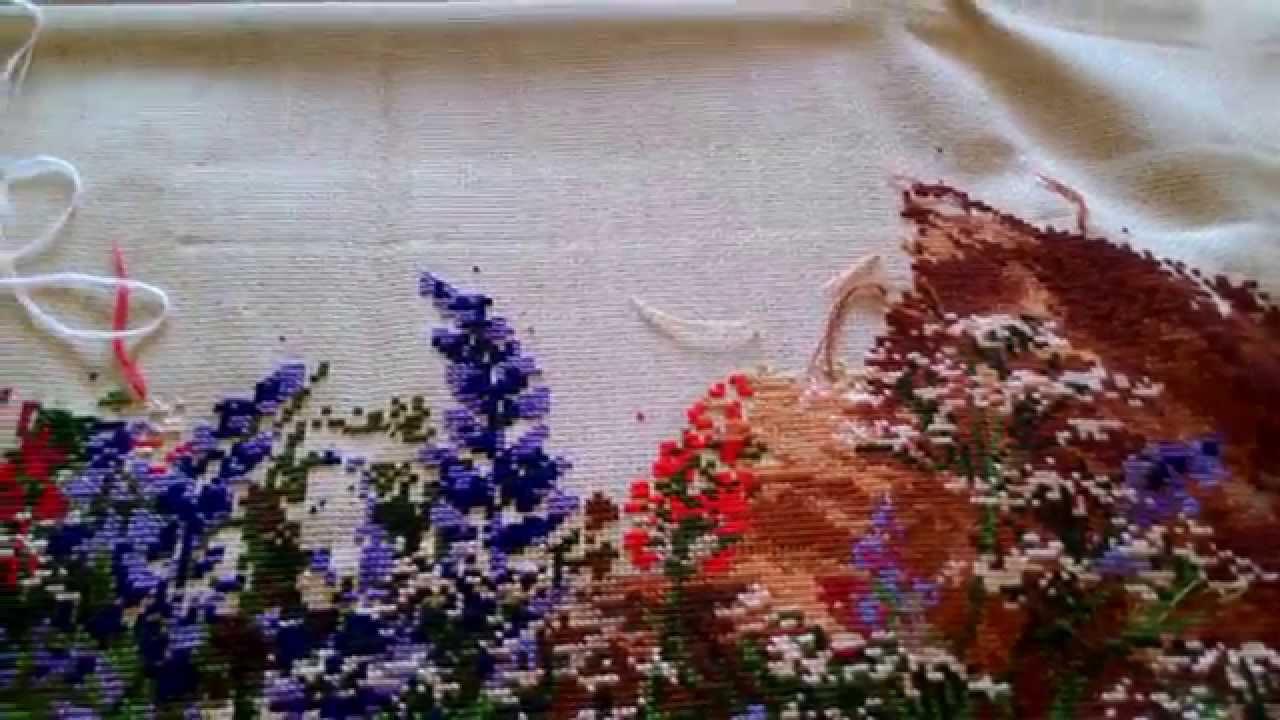 Вышивка пума из риолис