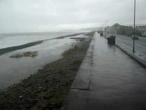Waves splashing on Borth beach