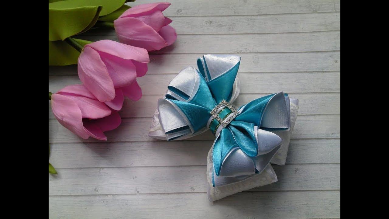 МК DIY Пышные бантики из атласной ленты /MK DY Lush bows made of satin ribbon