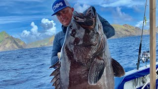 "DEEP SEA Fishing ""Gigantic Mystic Grouper"" {Catch Clean Cook} Filipino Fish Soup"