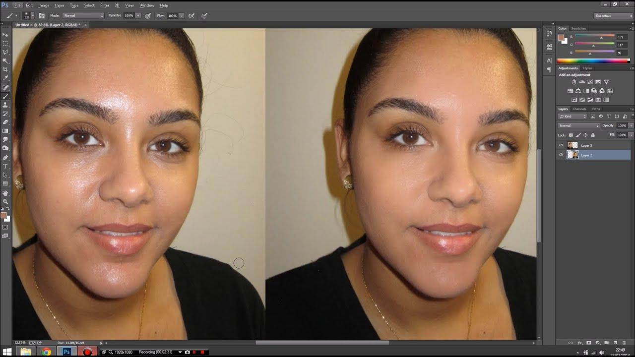 Easy Photoshop tips: Mattify shiny skin - YouTube