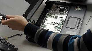 Compaq F700 Display screen replacement disassembly video, take a part, how to open