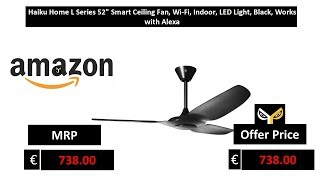 Haiku Home L Series 52 Smart Ceiling Fan, Wi-Fi, Indoor, LED Light, Black, Works with Alexa