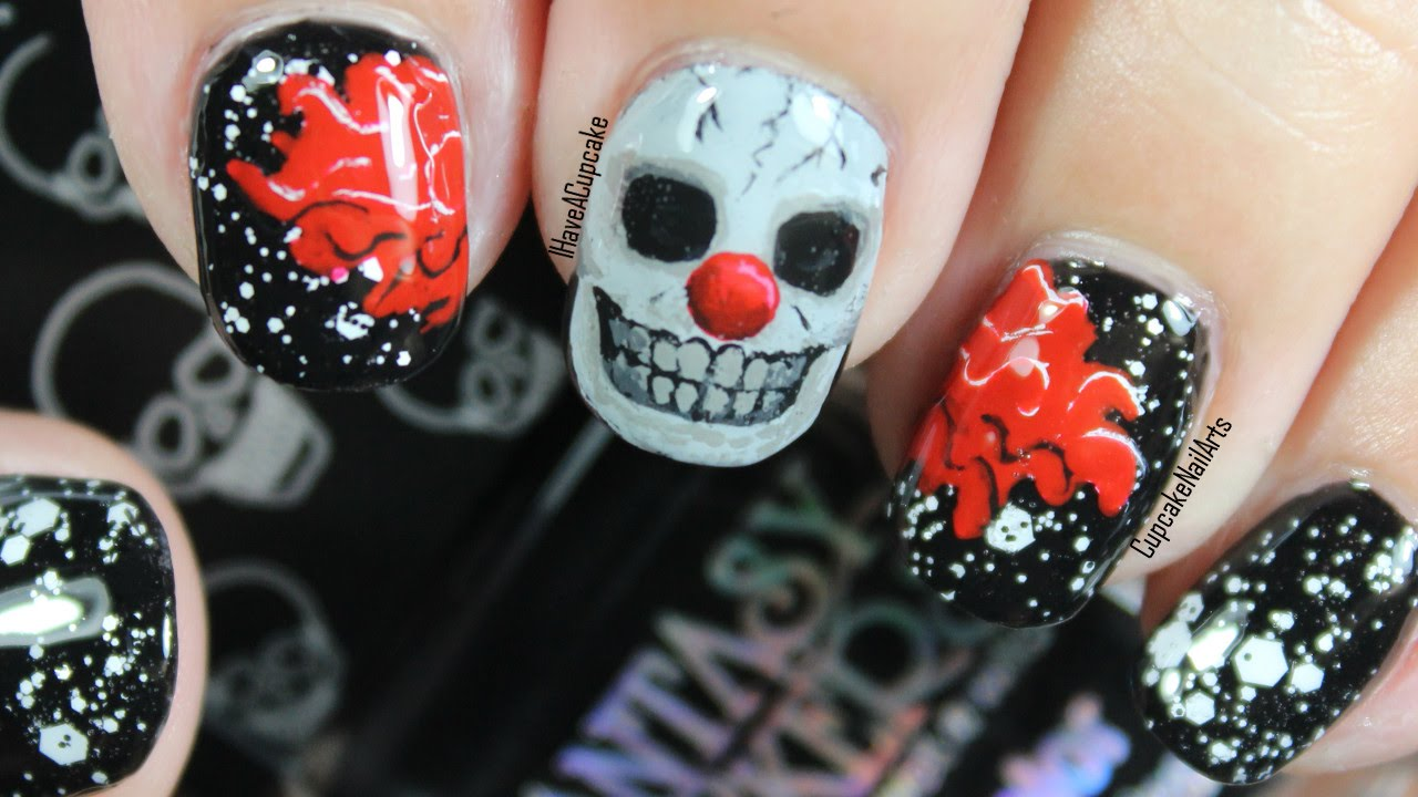 Halloween nails halloween nail art creepy skull clown youtube prinsesfo Images