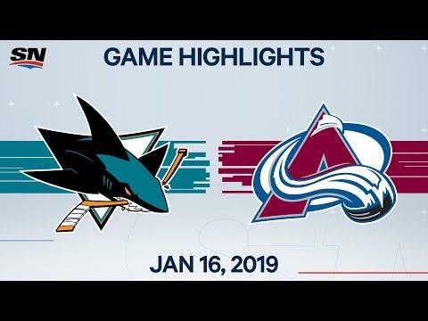 NHL Highlights   Sharks Vs. Avalanche – Jan. 16, 2020
