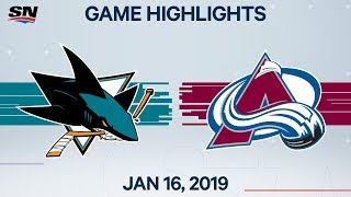 NHL Highlights | Sharks vs. Avalanche – Jan. 16, 2020
