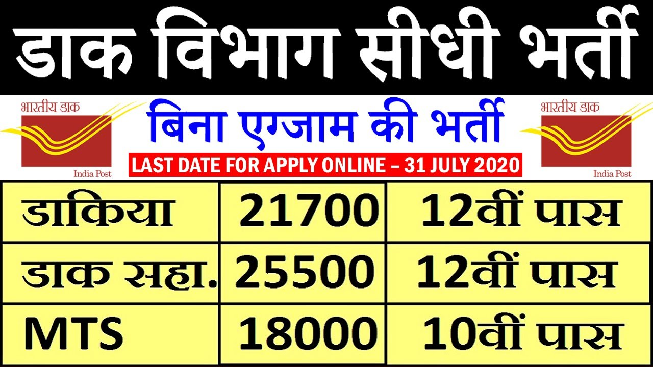 India Post Office Recruitment 2020 for PA/SA, Postman/Mail Guard & MTS