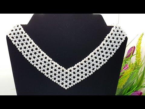 Pearl Necklace/Diy Necklace/Beaded Necklace/Pearl Collar/Колье из бусин/Жемчужное колье/Бисер