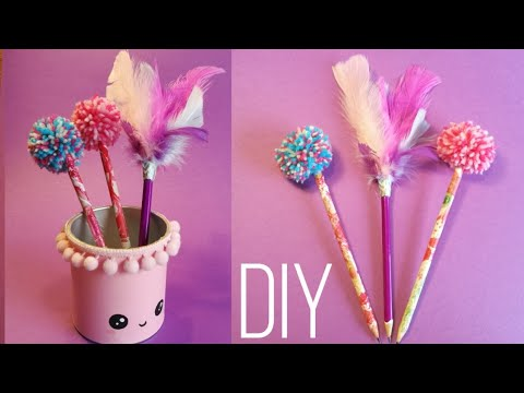 DIY Cute School Supplies | Penholder (Pencil Holder), Pompom and Feather Pencils (2019)