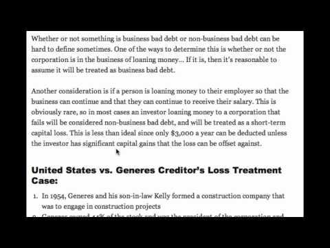 Non-business Bad Debts and U.S. vs Generes