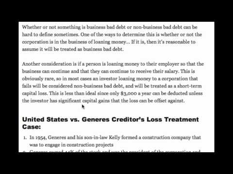 Non-business Bad Debts and U.S. vs Generes