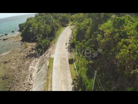 Winding road along the coast of the Philippines