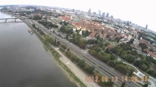 Wisła z lotu ptaka Warszawa Samolot RC z kamerą Susza 2012