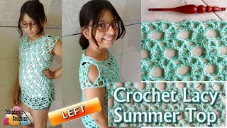 Crochet Lacy Summer Top - Left Handed Crochet Tutorial - Child Crochet