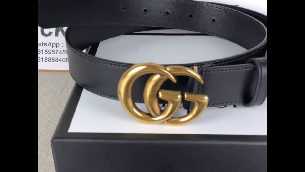f21ff1af9b1 Gucci 2018 men's fashion business leather belt classic double G retro  double-sided lady belt