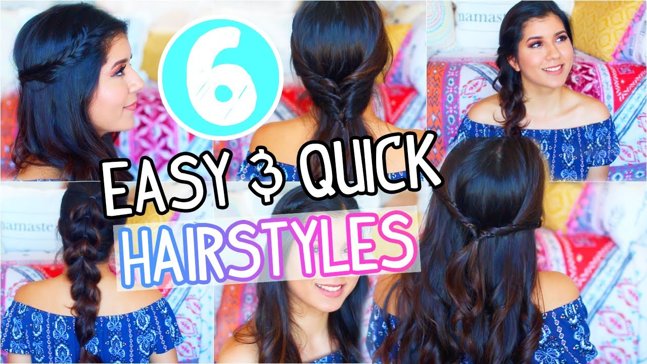 Easy Hairstyles On The Go 6 Easy Quick Hairstyles On The Go 2017 Youtube