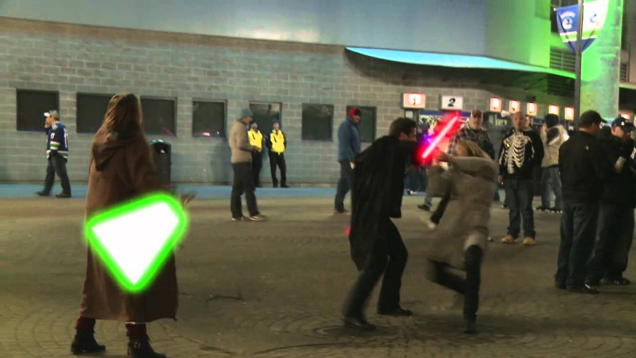 Candid Camera Star Wars : Star wars at a vancouver canucks game hidden camera jedis youtube