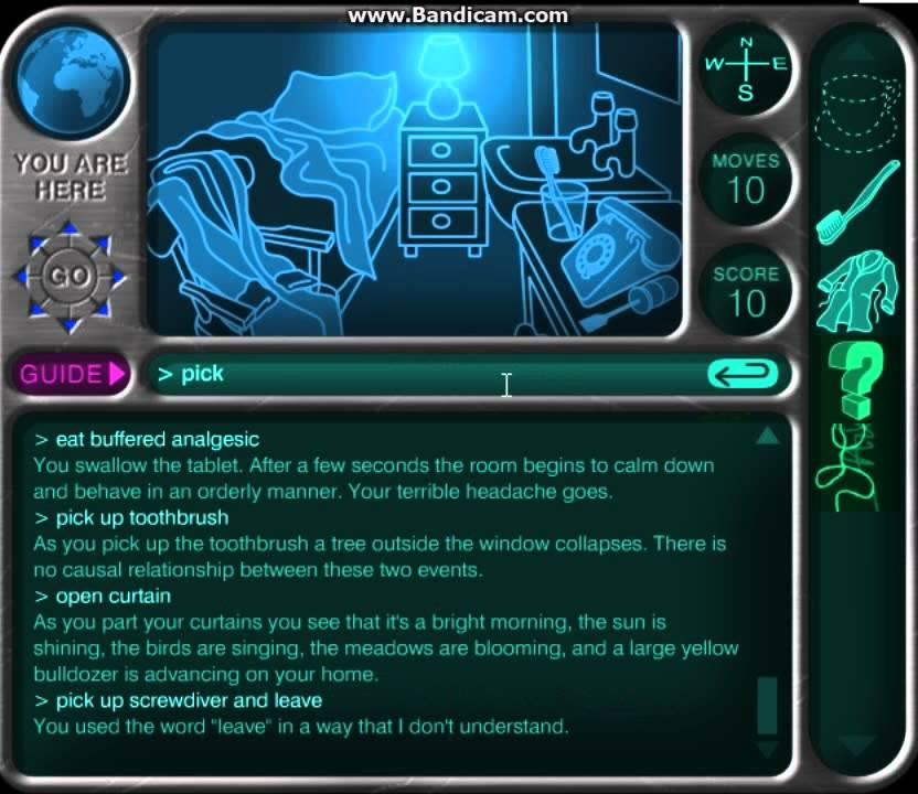 The hitchhikers guide to the galaxy game part 1 i knocked down.