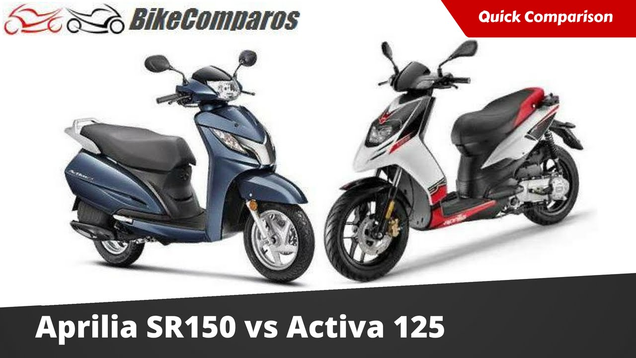 aprilia sr  honda activa  comparison review youtube