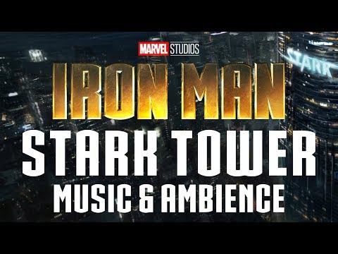 Iron Man Music & Ambience | Stunning View Of Stark Tower With Thunderstorm Ambience