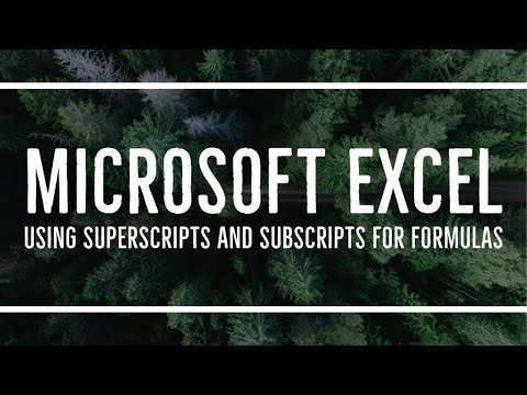 MS Excel - Using Superscripts And Subscripts For Formulas