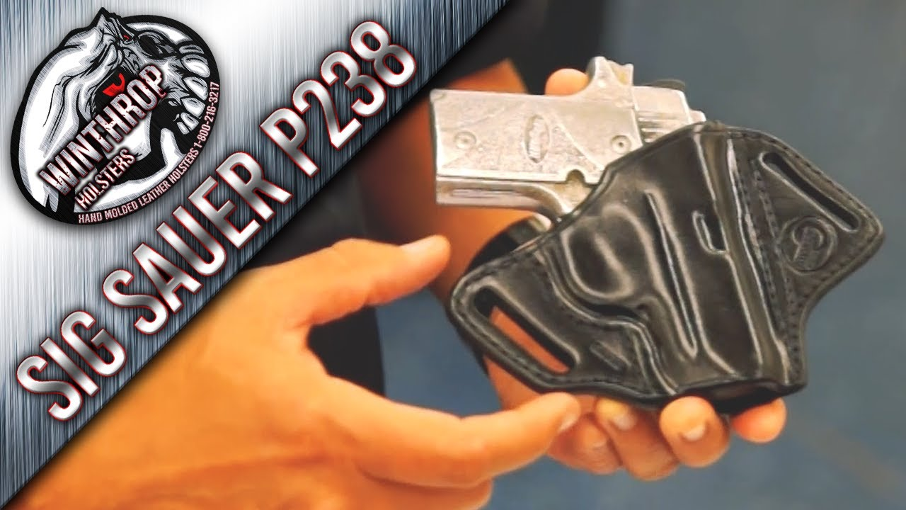 Sig Sauer P238 OWB Black Leather Concealment Holster By:  WinthropHolsters com