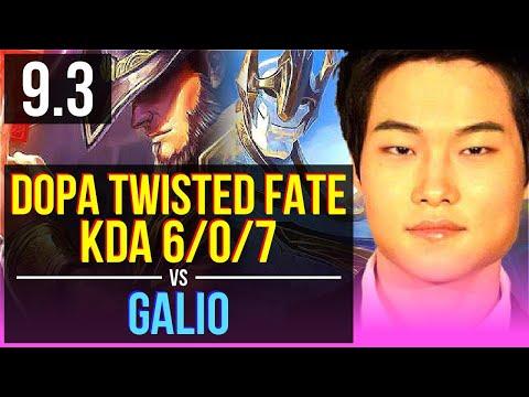 Dopa TWISTED FATE vs GALIO (MID) | KDA 6/0/7, Dominating | Korea Diamond | v9.3