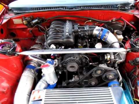 Rotary-Works Mazda Rx7 20B Drift Cars Idling.