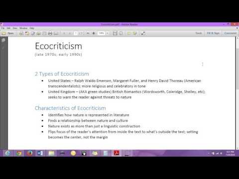 Engl 251 Ecocriticism