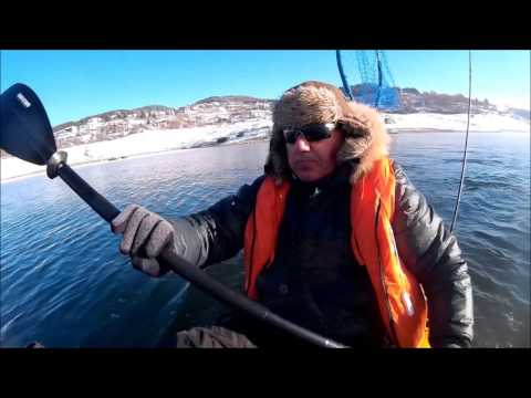Zander fishing with kayak Malibu Stealth 9 in january 2017 and Subaru Legacy