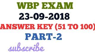 480. WBP 2018 EXAM ANSWER KEY , WEST BENGAL POLICE ANSWER KEY 2018