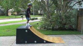 Homemade Quarter Pipe With Skateboard And Rip Stick