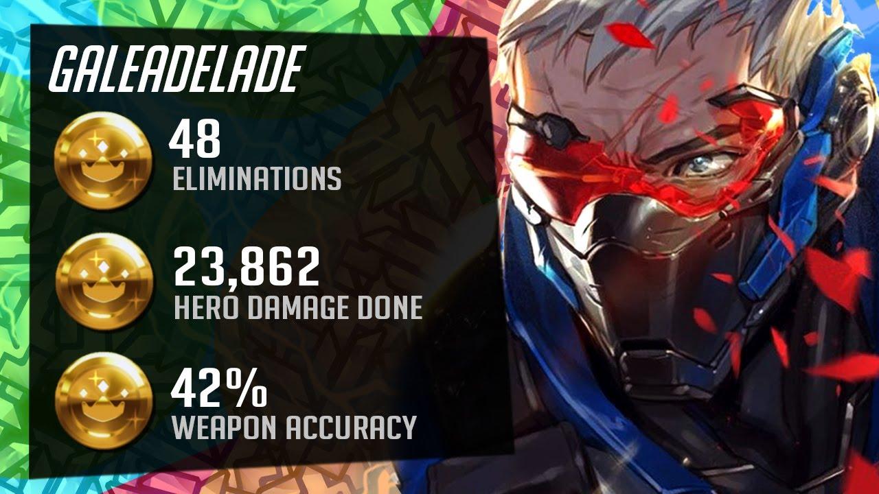 Gale Hitscan main - Soldier 76 gameplay! 48 elims! 24k DMG! [ Overwatch Season 27 Top 500 ]